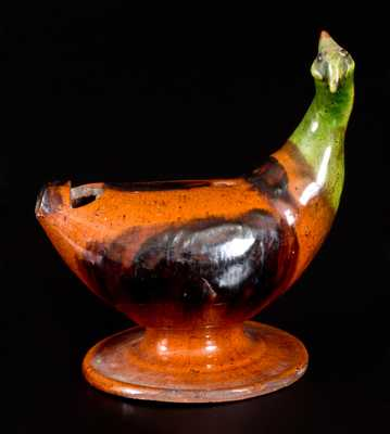 Rare Large-Sized Pennsylvania Redware Bird Whistle