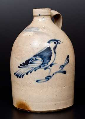 One-Gallon FORT EDWARD POTTERY CO. (Ft. Edward, NY) Stoneware Jug w/ Cobalt Bird Decoration