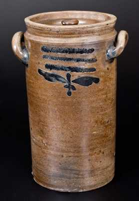 Rare Lidded C. CROLIUS / MANHATTAN, WELLS / NEW-YORK Stoneware Jar w/ Incised Design