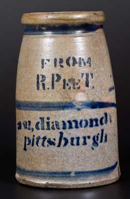Unusual Stoneware Striped Wax Sealer w/ Stenciled Pittsburgh Advertising