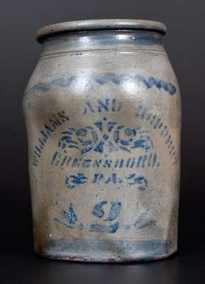 Two-Gallon WILLIAMS AND REPPERT / GREENSBORO, PA Cobalt-Decorated Stoneware Jar