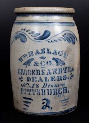 Outstanding WM. HASLAGE / GROCERS AND TEA DEALERS / PITTSBURGH Advertising Crock