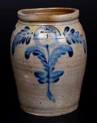 B. C. MILBURN, Alexandria, VA Stoneware Jar with Cobalt Floral Decoration