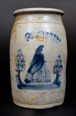 Scarce Uniontown, PA Stoneware Jar w/ Cobalt Woman Decoration