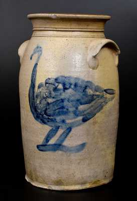 Outstanding Ohio Stoneware Churn with Large Cobalt Game Bird Decoration