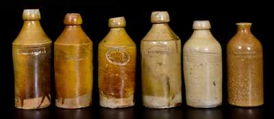 Lot of Six: Stoneware Bottles incl. Five with Impressed NEW YORK Advertising