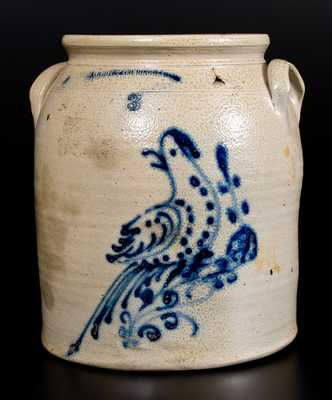 Scarce Three-Gallon N. WHITE & CO BINGHAMTON Stoneware Jar w/ Cobalt Bird Decoration