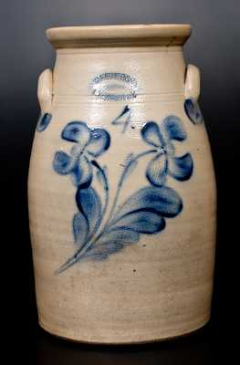 4 Gal. J. FISHER & CO. / LYONS, N.Y. Stoneware Churn with Cobalt Floral Decoration