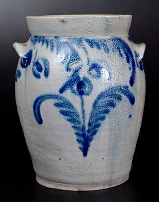 3 Gal. Ovoid Stoneware Jar with Profuse Cobalt Floral Decoration, Baltimore, circa 1835
