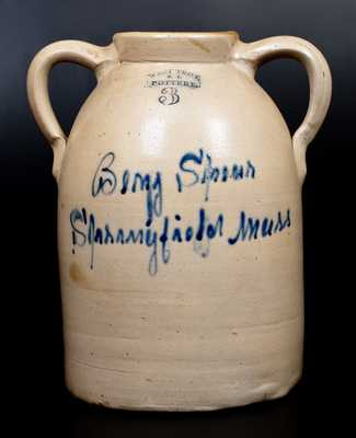 Rare WEST TROY / NY / POTTERY Stoneware Open-Handled Jar w/ Springfield, MA Script Advertising
