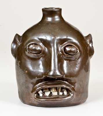 Very Rare and Important BROWN BROS. / ARDEN, NC Stoneware Face Jug, c1925