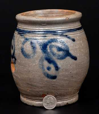 Very Fine Early Quart-Sized Ovoid Stoneware Jar w/ Watchspring Designs, probably Manhattan, 18th century