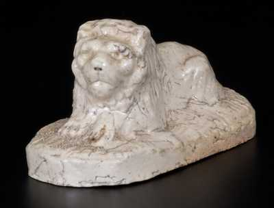 White-Glazed Sewertile Lion Figure Initialed EJE, Edward J. Ellwood, Tuscarawas County, OH