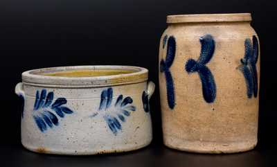 Lot of Two: Richard Remmey, Philadelphia, PA Stoneware Butter Crock and Jar