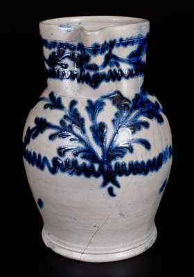 1 Gal. Baltimore Stoneware Pitcher w/ Exceptional Slip-Trailed Floral Decoration, c1820