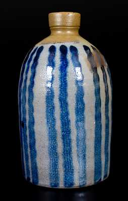 Unusual Western PA Half-Gallon Stoneware Jug with Vertical Striped Decoration