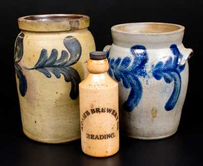 Lot of Three: Two Half-Gallon Decorated Stoneware Jars, English Screw-top Stoneware Bottle