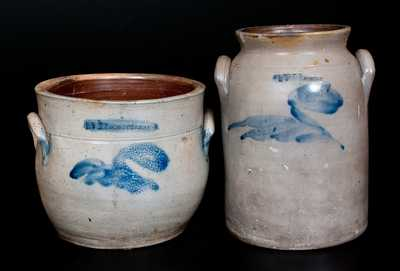 Two I. V. MACHETT Stoneware Jars, Cornwall, NY, circa 1850