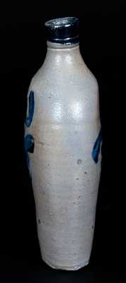 Rare Stoneware Flask w/ Cobalt Tulip Decoration, attrib. David Parr, Sr., Baltimore, MD, c1825