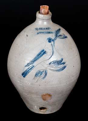 N. CLARK /ATHENS Stoneware Jug Cooler w/ Incised Bird Decoration