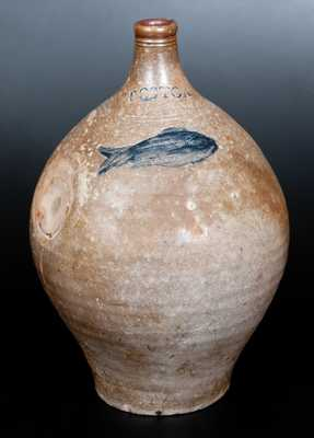 Two-Gallon BOSTON Stoneware Jug w/ Impressed Fish Decoration, late 18th century