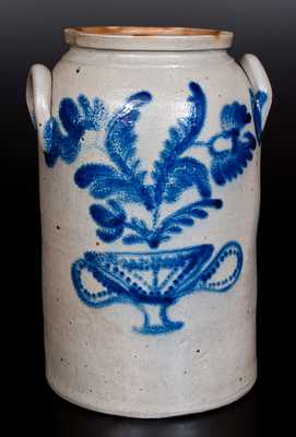 Rare Three-Gallon Baltimore Stoneware Jar w/ Elaborate Cobalt Flowering Urn Decoration, circa 1840