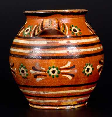 Very Rare Alamance County, NC Southern Redware Sugar Jar w/ Profuse Three-Color Slip Decoration