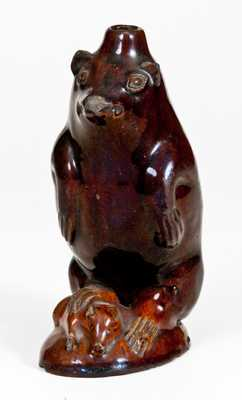 Very Rare Glazed Redware Bear Bottle, attributed to Rudolph Christ, Salem, NC, circa 1810-1830