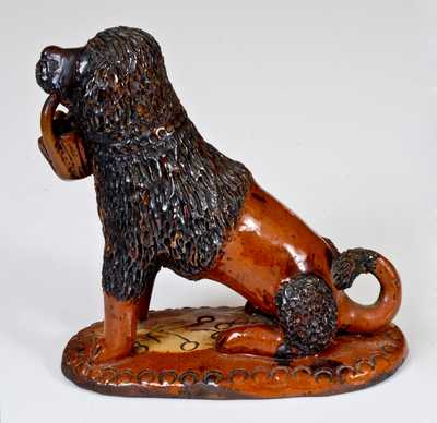 Exceptional Pennsylvania Redware Seated Dog w/ Basket Figure