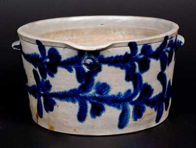 Exceptional Two Gal. Stoneware Milkpan with Elaborate Cobalt Floral Decoration, Baltimore, circa 1825