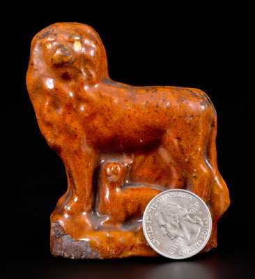 Glazed Redware Figure of a Lion with Lamb, probably Pennsylvania origin, c1850-80