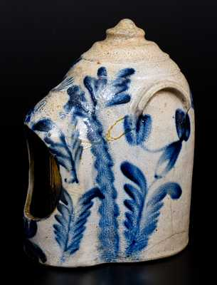 Fine Remmey, Philadelphia Stoneware Chick Waterer with Elaborate Cobalt Floral Decoration