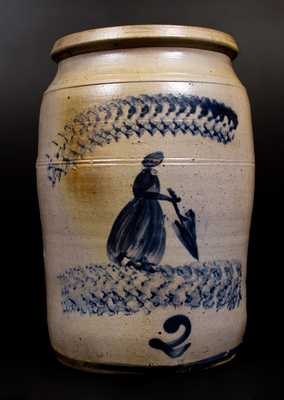David Greenland Thompson, Morgantown, WV Stoneware Jar w/ Cobalt Woman Decoration