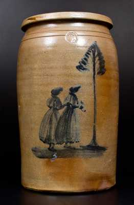 Morgantown Stoneware Jar w/ Decoration of Two Women, David Greenland Thompson