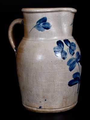 Baltimore, MD Stoneware Pitcher w/ Cobalt Floral Decoration, c1865
