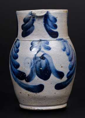 Rare and Fine Quart-Sized Baltimore Stoneware Pitcher w/ Cobalt Floral Decoration