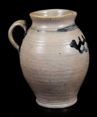 Rare Quart-Sized Stoneware Pitcher w/ Cobalt Swag Decoration, NJ or CT origin, late 18th or early 19th century