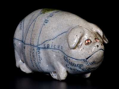 Important Anna Pottery Stoneware Pig Flask w/ Glass Eyes and