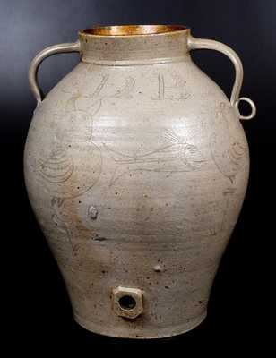 Ohio Stoneware Water Cooler w/ Incised Owl and Fish Decorations, made for Ross County, OH merchant, Samuel D. Buckwalter (c.1816-1898)