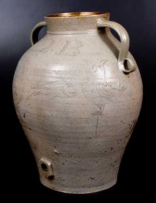 Monumental Ohio Stoneware Water Cooler w/ Incised Owls and Fish Decoration Inscribed S. D. Bockwalter