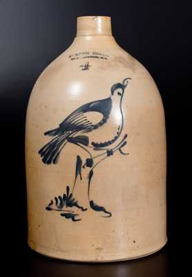 4 Gal. FULPER BROS. / FLEMINGTON, N.J. Stoneware Jug with Fine Bird-on-Stump Decoration