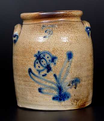 2 Gal. EVAN R. JONES / PITTSTON, PA Stoneware Jar with Slip-Trailed Floral Decoration