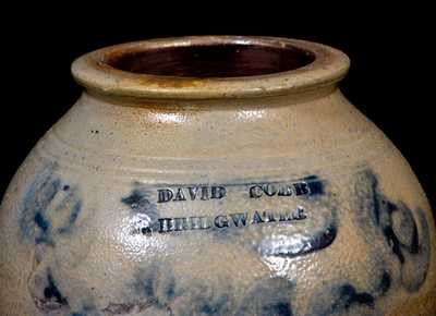 Very Rare DAVID COBB / N. BRIDGWATER, Plymouth County, MA Ovoid Stoneware Jar