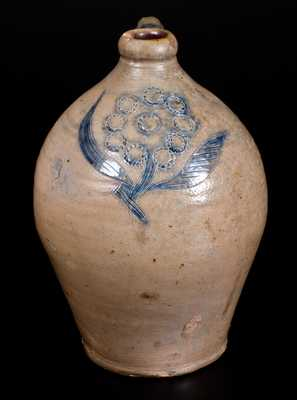 Very Fine Ovoid Stoneware Jug w/ Impressed and Incised Floral Decoration, probably Crolius, Manhattan
