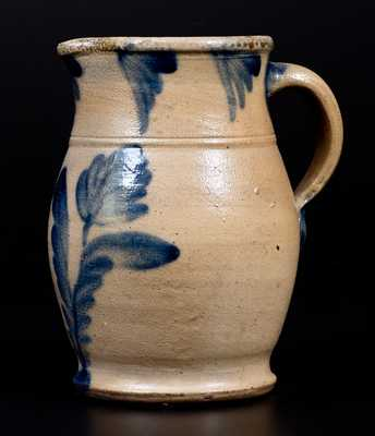 Fine One-Quart Stoneware Pitcher with Tulip Decoration, Richard Remmey, Philadelphia, circa 1875