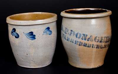 Lot of Two: Stoneware Cream Jars incl. A. P. DONAGHHO and Baltimore, MD Examples
