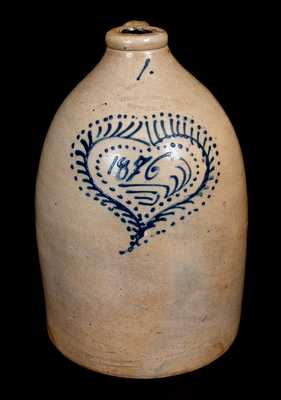 Rare HAIDLE & ZIPF / NEWARK, NJ Stoneware Jug Dated 1876 in Elaborate Heart