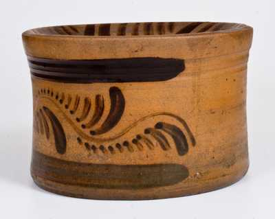 Outstanding Tanware Spittoon with Elaborate Decoration, New Geneva, PA, circa 1890