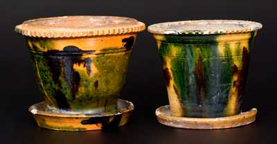 Lot of Two: Multi-Colored Redware Flowerpots att. George Wagner, Carbon County, PA
