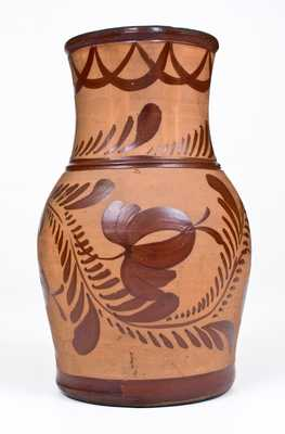 Exceptional Tanware Pitcher with Elaborate Albany Slip Date,